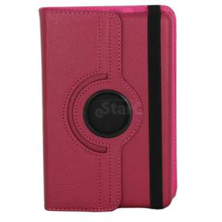 Hot Pink  Kindle Fire 360 Degree Rotating Leather Case Cover w