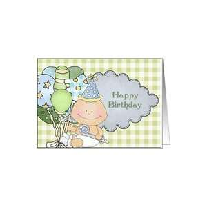 Happy birthday baby boy with balloons Card Toys & Games