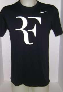 New NIKE Men`s Roger Federer RF Tennis Tee Shirt Black/White