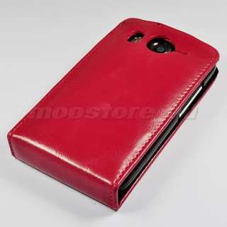 FLIP LEATHER CASE COVER POUCH FOR HTC DESIRE HD RED