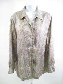 ROADIER Beige Paisley Silk Button Front Shirt Size 46