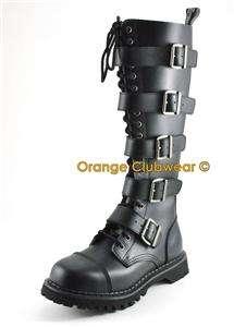 DEMONIA Riot 20 Womens Punk Combat Knee Boots Shoes 885487011264
