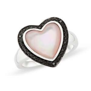 PInk Mother Of Pearl & Black Diamond Sterling Silver Heart