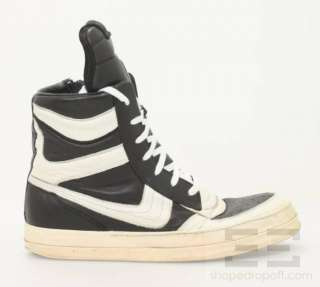 Rick Owens Black & White Leather Mens High Top Sneakers Size 43