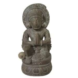 Meditating Hanuman Stone Statue Hindu Monkey God Sculpture 8.5