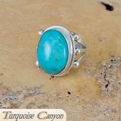 Navajo Native American Turquoise Ring Size 6 1/2 FbR