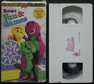 Barney Fun Games Dinosaur VHS Video Tape Childrens Classic Movie
