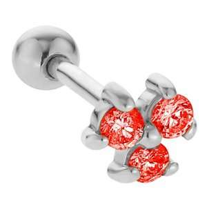 2mm Ruby Three Gem 14K White Gold Cartilage Stud Earring Jewelry