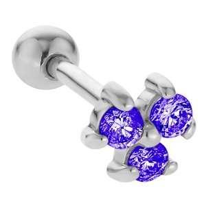 2mm Sapphire Three Gem 14K White Gold Cartilage Stud Earring Jewelry