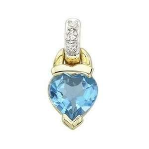 14K Yellow Gold Heart Shape Blue Topaz Pendant & Diamond