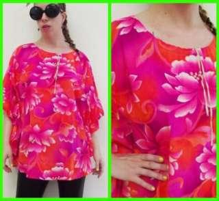 Vtg 70s Hot Pink Hawaiian Butterfly Wing Top Shirt XL
