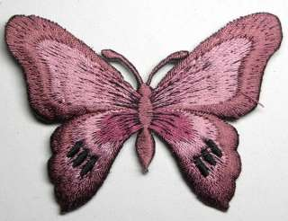 ORCHID FANCY BUTTERFLY IRON ON PATCH EMBROIDERED I133