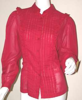 Raspberry Vtg 80s Sheer Ruffle Puff Sleeve Blouse M L