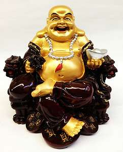 Chinese Feng Shui Happy Buddha sit on Dragon Chair