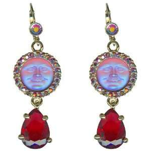 KIRKS FOLLY Seaview Moon Tears Leverback Earrings RED