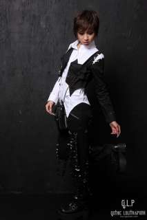 71183 Western Kera Shop Unisex PUNK Rock GOTHIC SHIRT+Vest 2pcs White