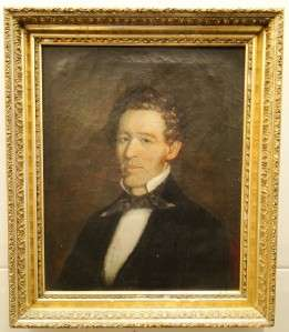 GOLD GILT FRAME OIL ON CANVAS PORTRAIT PROPRIETOR/POLITICIAN? c1840s