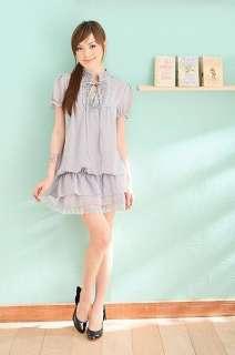 LS Women Dress Shirts Top 2 Layers Korea Gray 9258 T S M  USA Seller
