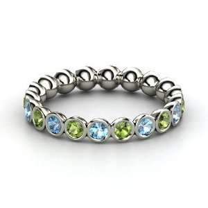 Band, 14K White Gold Ring with Green Tourmaline & Blue Topaz Jewelry
