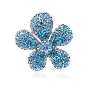 Deep Ocean Blue Small Crystal Rhinestone Costume Jewelry Flower Ring