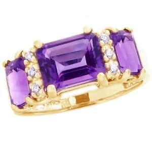 14K Yellow Gold Octagon Three Stone Ring with Diamonds Amethyst, size5