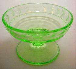 VINTAGE GREEN DEPRESSION GLASS STEMED CANDY DISH