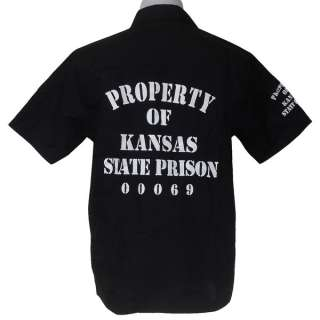 KANSAS PRISON PUNK GRIM FANCY BIKER SHIRT BLACK XXL
