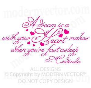 Cinderella Quote Girls Nursery Vinyl Wall Quote Decal