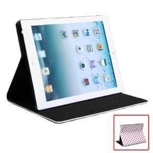 Leather Folio Case Stand for iPad 2   White with Pink Dot Electronics