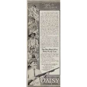 1915 Ad Rapid Fire Daisy Pump Gun Air Rifle Happy Boy   Original Print