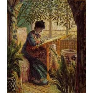 Claude Monet Camille Embroidering  Art Reproduction Oil