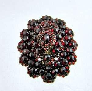 Antique Victorian Rose Cut Bohemien Garnet Large Brooch