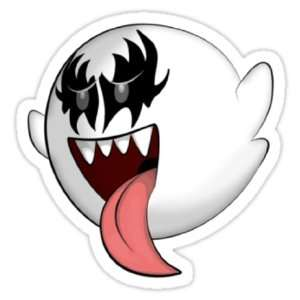Mario Brothers Boo Kiss Gene Simmons Vinyl Decal Sticker