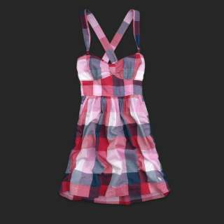 Abercrombie And Fitch A&F Blue Pink Plaid Dress sz M NW