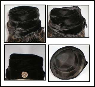 Vintage 1940 1950s Lady Women Ladies Black Velvet Bucket Top Hat Cap