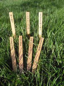 Engraved Wooden Plant Markers, Garden Stakes