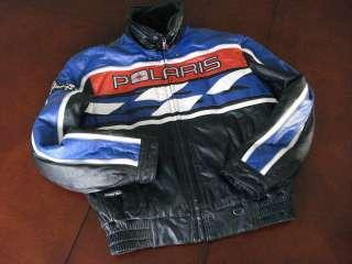 Vintage POLARIS Snowmobile Mens Racing Black Leather Jacket Coat Size