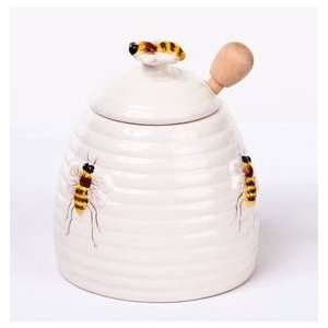 3 piece Set Honey Bee Beehive Pot / Jar with Dipper, 4.2