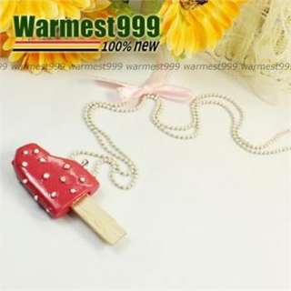 Korea Charm Cute Fashion Pink Ribbon Ice Cream Lolly Bow Pendant
