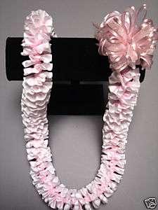 Hawaiian Satin Ribbon Lei Graduation Gift White Pink