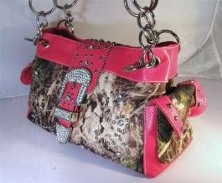 Hot Pink Mossy Camo Rhinestone Buckle Bling Western Cowgirl SidePocket