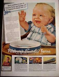 1942 Pillsburys FARINA Hot Cereal cute baby vintage ad