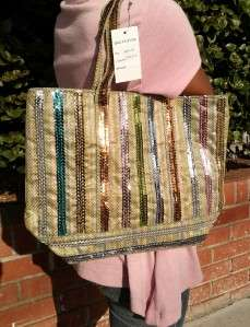 SUMMER PALE LIME GREEN URBAN CHIC SEQUIN STRIPED TOTE/HAND BAG/PURSE