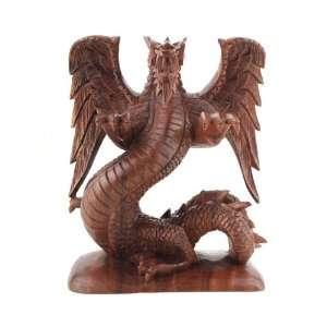 Bali Wood Carved~Winged Dragon Sculpture~Handmade Art