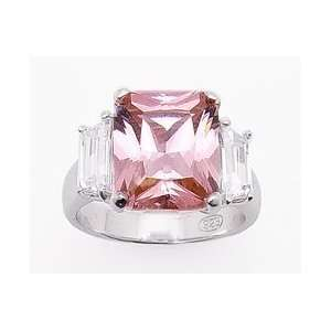 Sterling Silver Pink Ice with Baguette