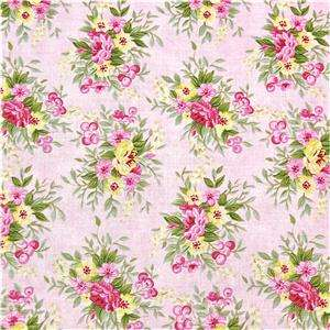 Cotton Fabric, Lovely Floral Bouquets on Pink, Fat Quarters