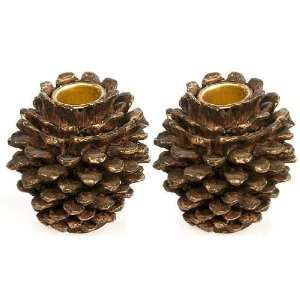 of 12 Resin Pine Cone Candle Holders for Christmas, Holiday or Lodge