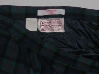 Pendleton Petite vintage tartan plaid skirt navy blue green womens
