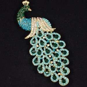 Hot Pretty Blue Peafowl Peacock Brooch Pin 4.9 W/ Rhinestone Crystals