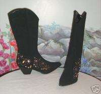 New PAZZO Black Suede w Studs & Crystals Boots 8